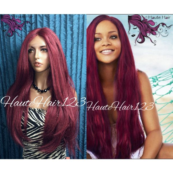 Rihanna Long Burgundy Red Human Hair Blend Lace Front Wig ($170) ❤ liked on Polyvore featuring beauty products, haircare, hair styling tools, bath & beauty, grey, hair care and wigs