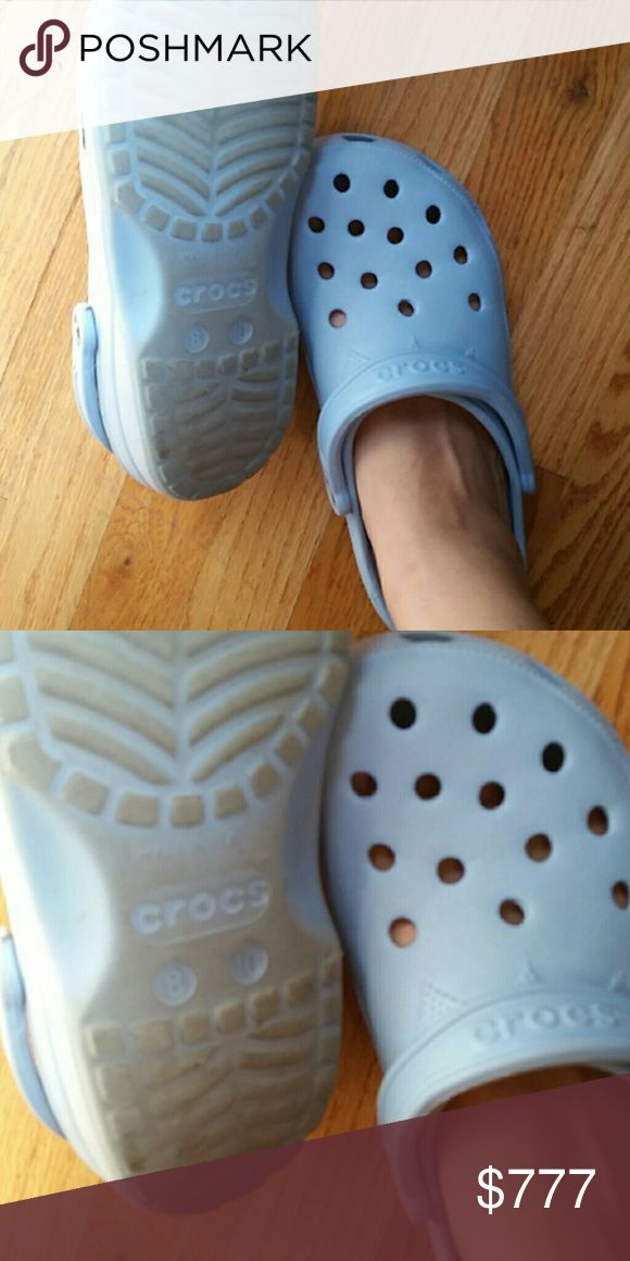 Baby blue Croc 10w 8 BUNDLE OFFERS ONLY Just added BUNDLE OFFERS ONLY ON THIS ITEM,  SORRY! Get MORE for LESS in my closet:) lots of free items.  Everything must GO. please peek my closet!  G-d bless! X  BUNDLE MORE FOR LESS. LOOK IN MY CLOSET! Free stuff!  -- SHARE A FEW OF MY ITEMS, I'LL SHARE YOURS--  Tags: intricate pattern, bright, baby sky blue, comfort, walking standing,  work, scrubs, nursing, medical, fall, autumn CROCS Shoes Slippers