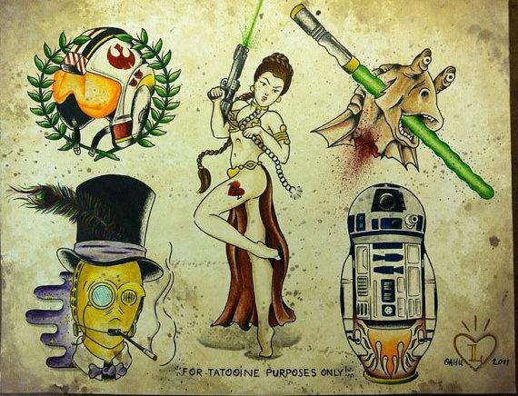 A 'Star Wars' tattoo flash sheet 11x14 by LeoDarlin on ...