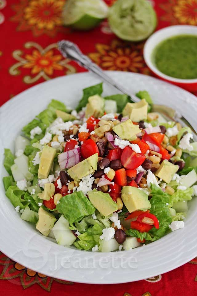 Mexican Chopped Salad with Lime Cilantro Dressing from Jeanette's Healthy Living @jeanetteshealth