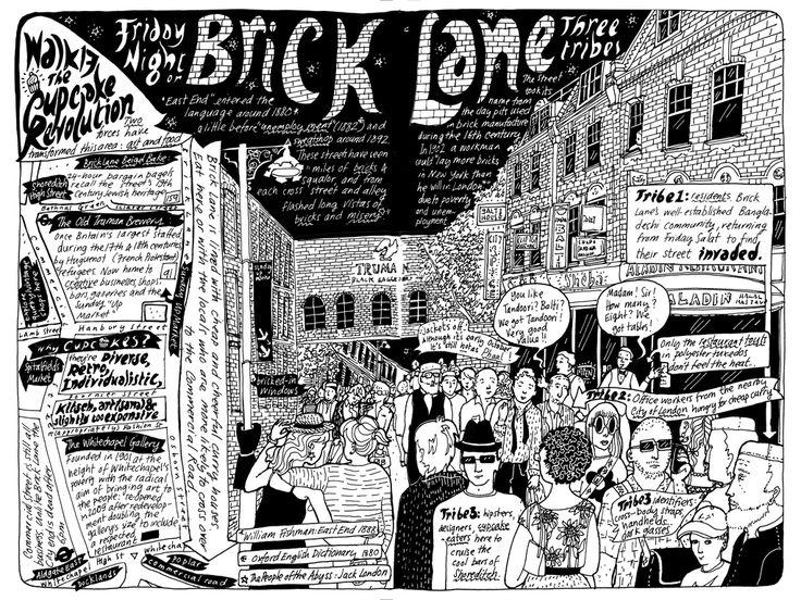 Brick lane london. Badaude's illustrated London Walks.