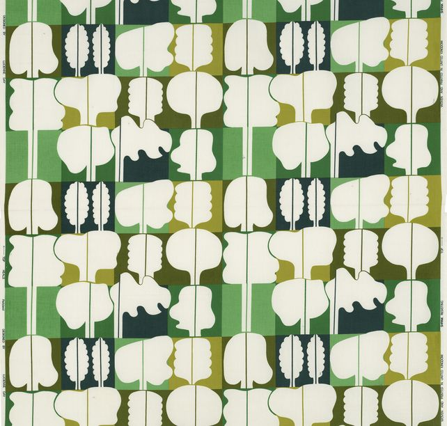 tobia: Parkland, (detail), 1974; created/designed by Lucienne Day. Manufactured by Heal Fabrics. Jill A. Wiltse and H. Kirk Brown III Collection of British Textiles. On display at the Textile Museum in Washington, DC, May 15-September 12, 2010, as part of the exhibit Art by the Yard: Women Design Mid-Century Britain. via DWELL.