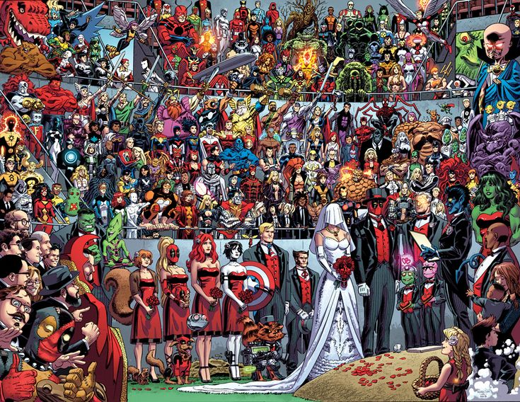 Deadpool's wedding (full image) - It's like a Where's Waldo with all your favorite Marvel characters!