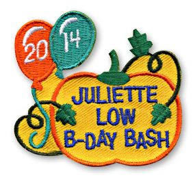 2 x 2 1/4 Inches **IRON-ON backing for easy & Snappy application** Here's another great fun patch to commemorate the birthday of Juliette Low. Our Juliette Low B-Day Bash 2014 fun patch is perfect for the Girl Scout founders birthday celebrations this year! http://www.snappylogos.com/Juliette-Low-B-Day-Bash-2014-Fun-Patch/productinfo/3468/