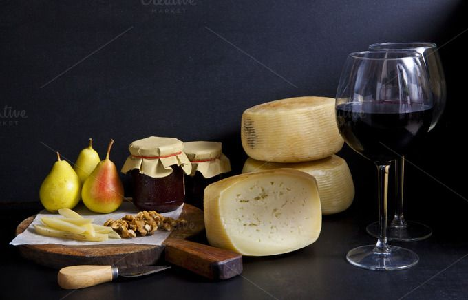 red wine and cheese by IriGri on @creativemarket