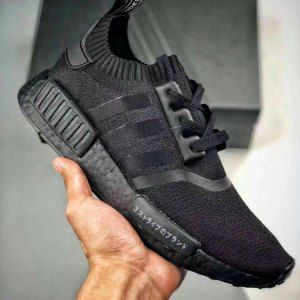 5eb1bfdc6e6 Mens Womens Adidas Originals NMD R1 Primeknit Triple Black Running Shoes