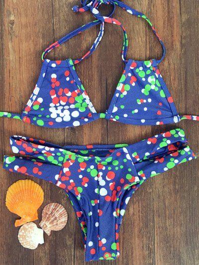Halter Colorful Polka Dot Bikini Set   Psychedelic Monk