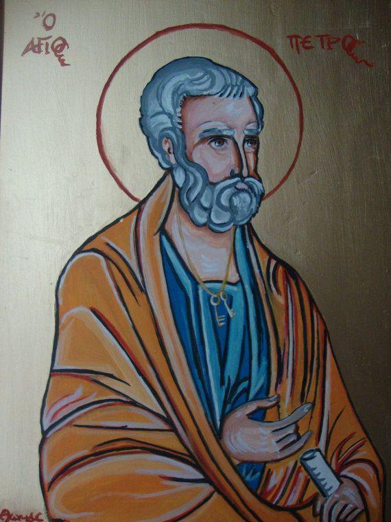 Saint Peter - Original Handmade Greek Religious Icon On Wood 7x9.75 inches #Iconography