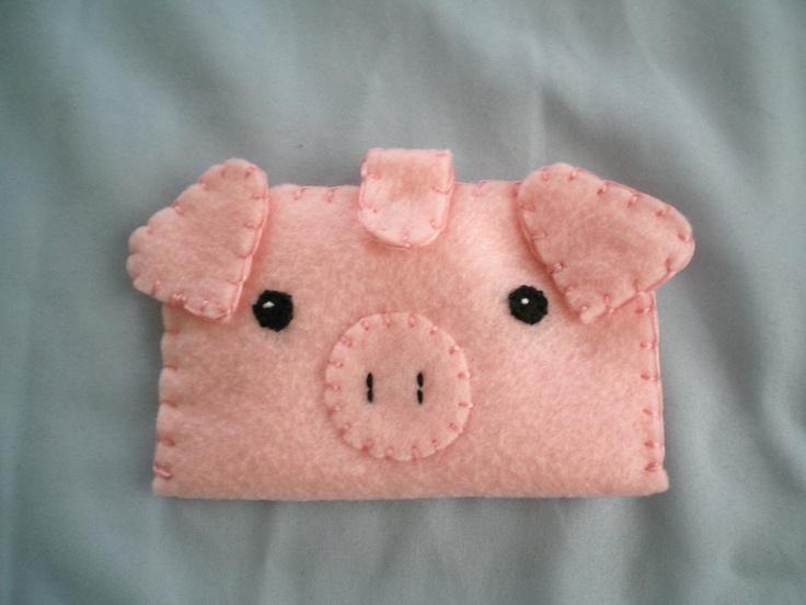 Pink Pig Felt Wallet $12.00 Via Etsy