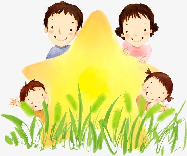 الأسرة السعيدة للمواد رسمت باليد Happy Cartoon Family Clipart Hand Painted