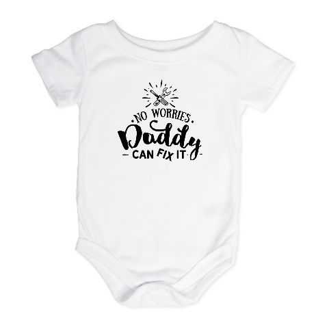 Daddy Can Fix It - Printed Cotton Tee & Onesie