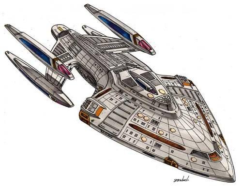 Star trek Prometheus-class starship concept art by Rick Sternbach                                  http://buyactionfiguresnow.com
