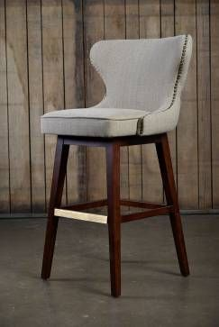 Carney Swivel Bar Stool in Beige Upholstery with Tufted Back and Antique Brass Nail Head Trim