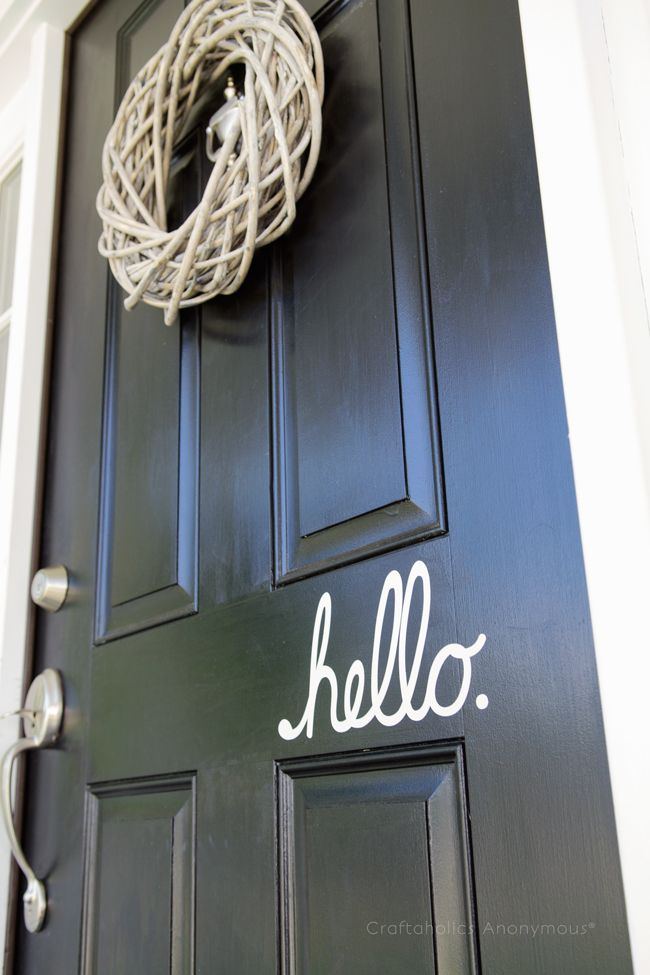 Love this HELLO vinyl decal for the front door! So much friendlier than welcome, I think.
