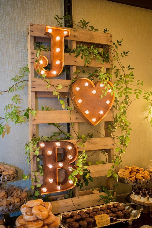 rustic wedding dessert table display; Photographer: Cary Diaz Photography