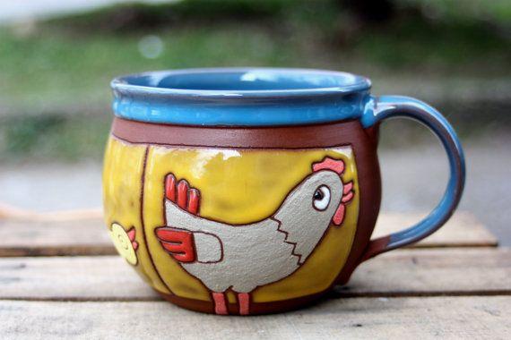 Teacup Art Mug Gift cup Ceramic Mug Clay Mug Pottery Coffee Mug Unique gift Espresso Cup Gift Idea Gift for kids Mugs Cup Art mug