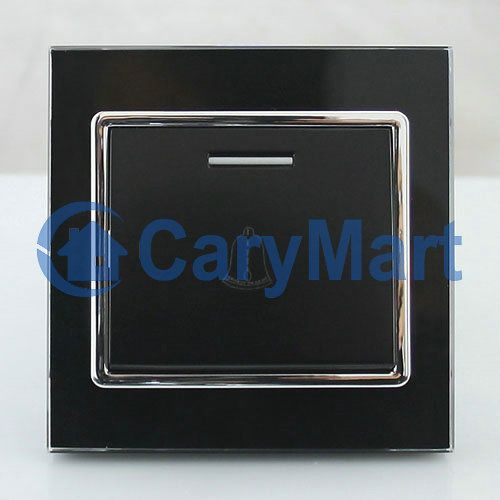 Wireless Doorbell Switch Black Crystal Panel Smart Momentary for Home/ Office