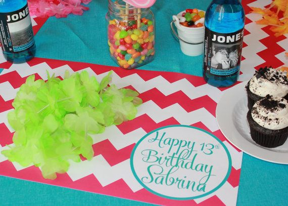 Style Your Table With These Personalized Pink Chevron Birthday Paper Placemats