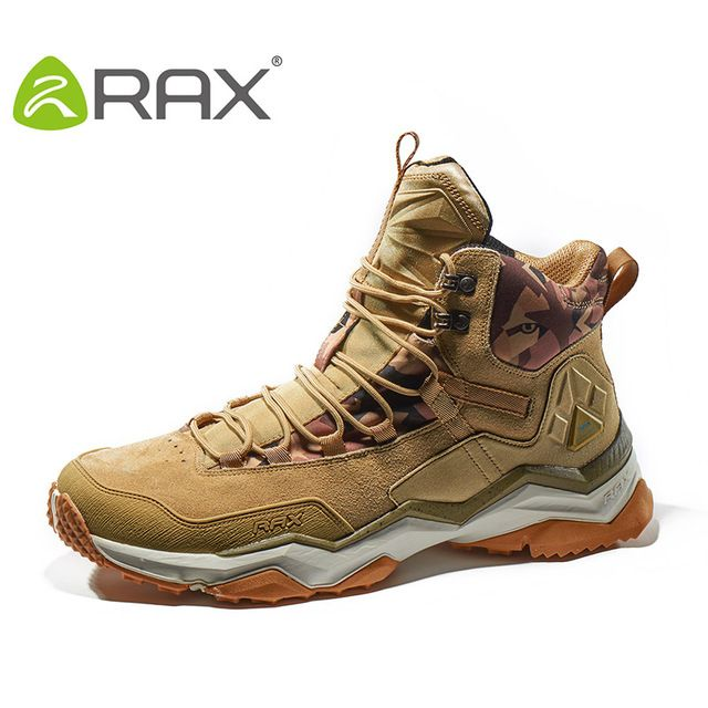 RAX brand Mid-top Waterproof Leather Hiking Shoes Outdoor Boots Trail Trekking Camping Climbing Hunting