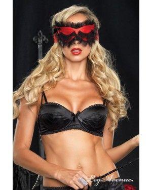 Bella di notte! Una maschera originale per addormentarsi dolcemente. Raso rosso ornato di pizzo. Con un effetto di sopracciglia finte sulle palpebre veramente carino.