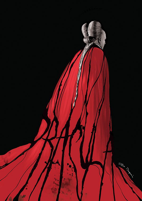 Bram Stoker's Dracula. I like the red cloak, but I would put Dracula in a black cloak with a blood red underside. To show his 'secret'.