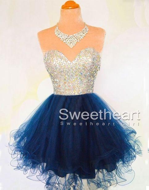Sweetheart A-line Rhinestone Short Prom Dress, Homecoming Dress #homecoming #dress #promdress #shortprom #evening #dresses #fashion #girls