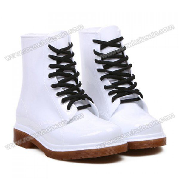 Wholesale Korean Style Women's Rain Boots With Solid Color and Lace-Up  Design (WHITE