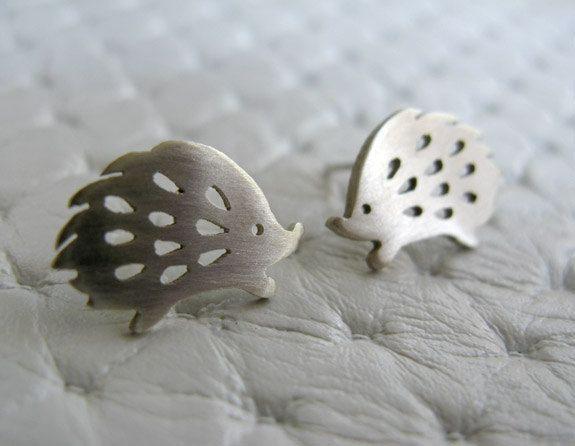 Handmade Earrings Studs - Etsy jewelry - Sterling Silver Hedgehog @Rachel Moore