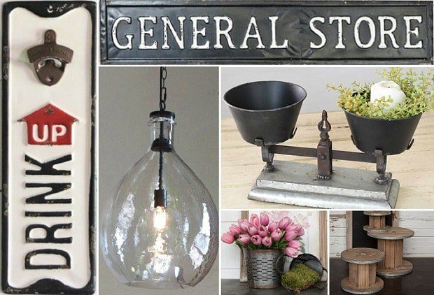 THE GENERAL STORE You will find accent pieces, signs, and decor full of warm greetings and beautiful vintage design in today's event - The General Store.   Add vintage inspired function and fun to your decor with our Drink Up Wall Mounted Bottle Opener; bring a touch of good old-fashioned charm to your shop or garage with our Vintage Inspired Tin General Store Sign; our Double Pot Balance Scale is sure to balance out your farmhouse decor; and our Oversized Glass Pendant Light will sparkle.