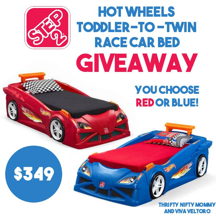 A giveaway for the Step2 Hot Wheels Toddler-To-Twin Race Car Bed.