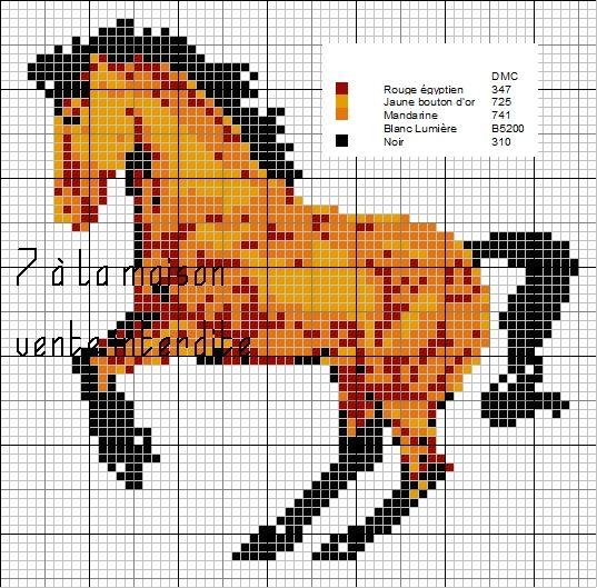 grille point de croix a imprimer cheval (With images) | Cross stitch, Christmas cross stitch ...