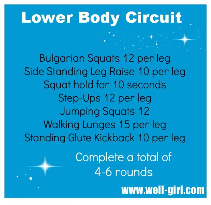 Lower body circuit no equipment needed.  Can add dumbbells if you like.