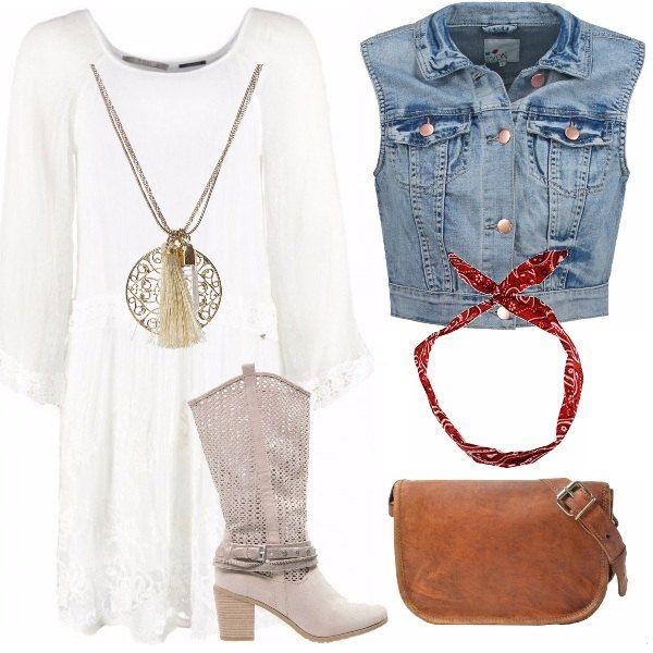 Arioso e leggero questo outfit in stile boho chic...vestitino bianco con gilet di jeans, stivali e borsa di cuoio, pendente e fazzoletto per i capelli. Magnifico!!!