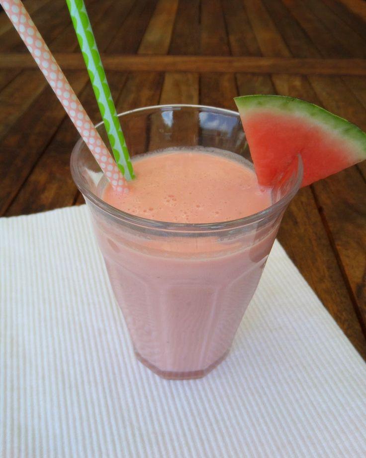 Watermeloen-aardbei smoothie