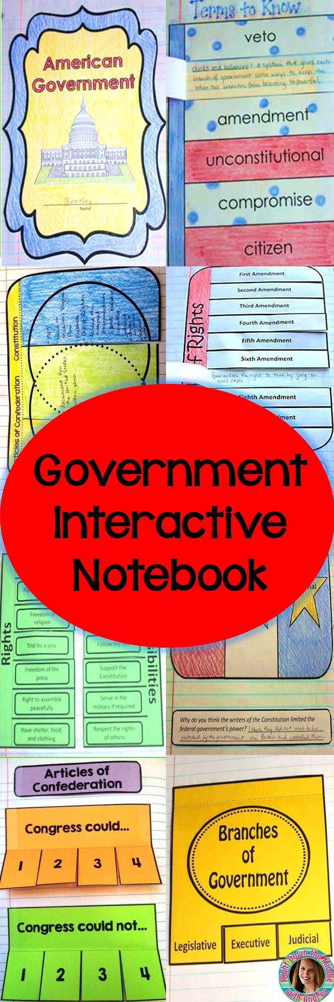 This Government Interactive Notebook is the perfect addition to your American Government Unit! The templates include the Bills of Rights, the Branches of Government, the History of Democracy, the Articles of Confederation, and many more! This is great for grades four, five, six, seven, eight, and nine (4th, 5th, 6th, 7th, 8th, 9th). #government #interactivenotebook #history