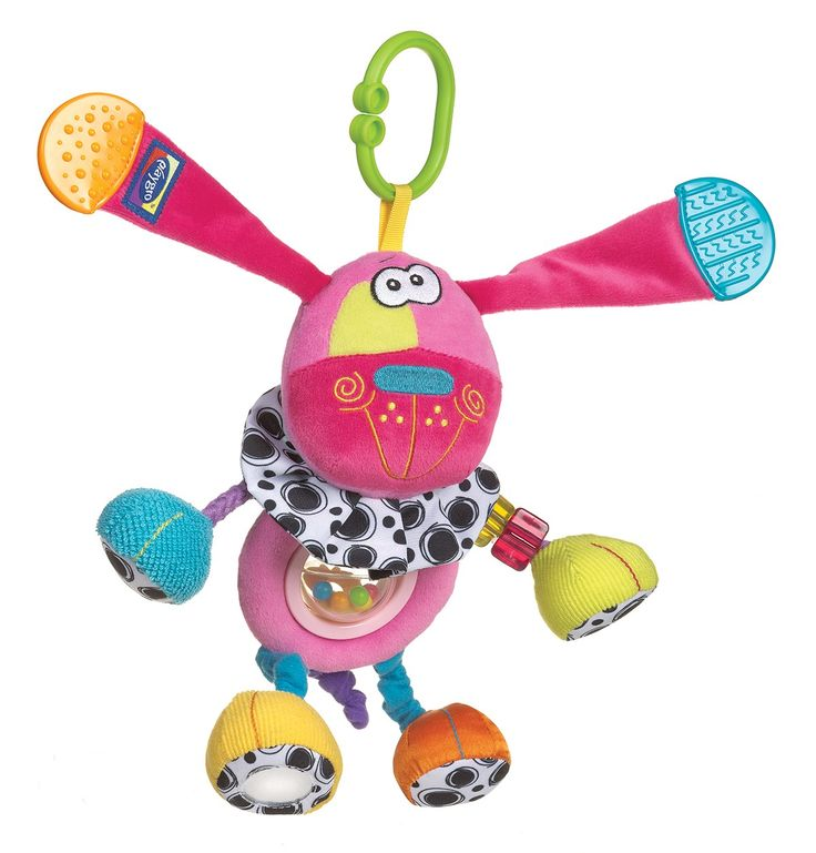 Pink Activity Doofy Dog-This adorable character, Activity Doofy Dog, is a wonderful way of keeping your baby entertained while developing learning skills. The soft dog teaches baby about hand-eye co-ordination while encouraging tactile and sensory development with sounds, shapes and textures