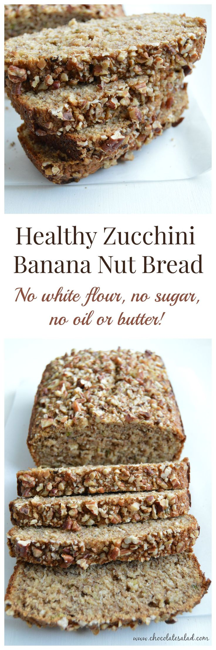Under 100 calories per slice! Healthy Zucchini Banana Nut Bread on chocolatesalad.com