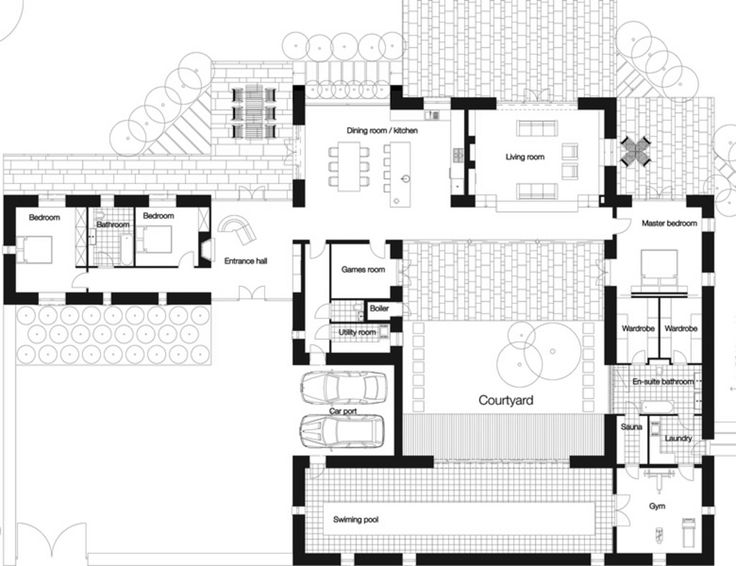 17 best images about house plan ideas on pinterest for House plans with courtyards in center