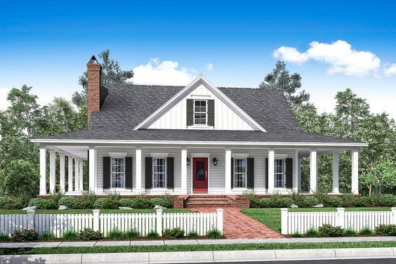 This beautiful two story country design features wrap-around porches and open concept living spaces. The first floor provides an enormous great room complete with wood burning fireplace and great exte