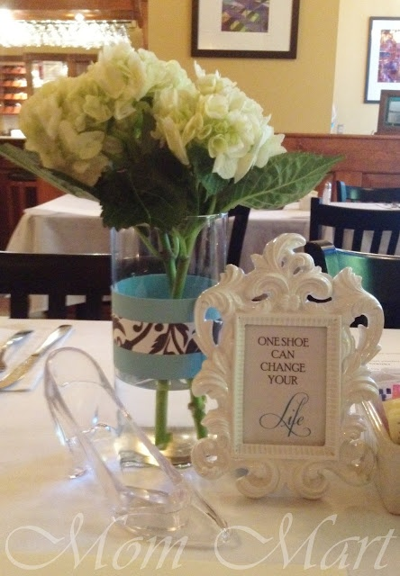 Cinderella theme wedding shower centerpiece with a