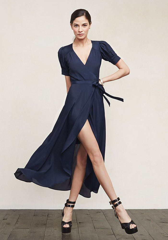 Model wears Navy Blue Wrap Dress for lookbook Photoshoot