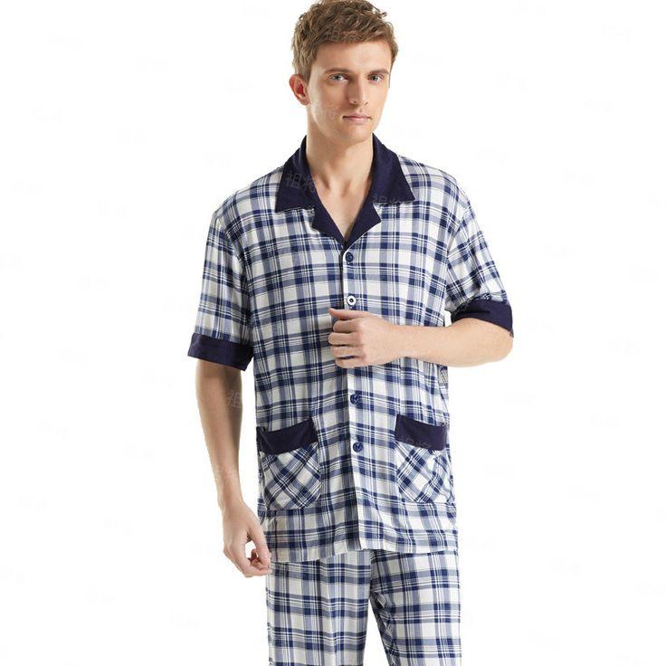 Short-Sleeved Men's Sleepwear Classic Plaid Pajama Sets Plus Size Cotton Pyjamas Sleep&Lounge Mens Sexy Loungewear Casual wear