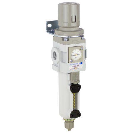 PneumaticPlus SAW300-N03BGS-MEP Compressed Air Filter Regulator Piggyback Combo 3/8 inch NPT, 10 Micron - Metal Bowl, Manual Drain, Bracket, Embedded Gauge