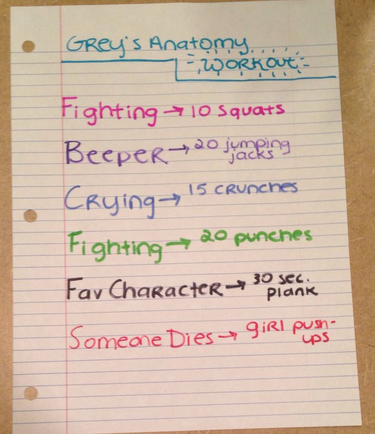 Greys anatomy workout