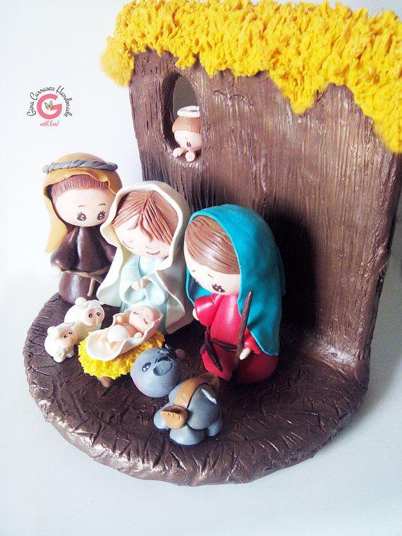 Pesebre Navideño, Hecho a mano. Creado en Porcelana Fria! Decoración para la Noche Buena, Decoración Navideña, Nacimiento!