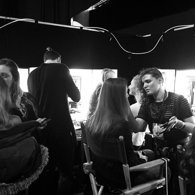 NZ Fashion Weekend | Marlies from M.A.C Cosmetics prepping models backstage.