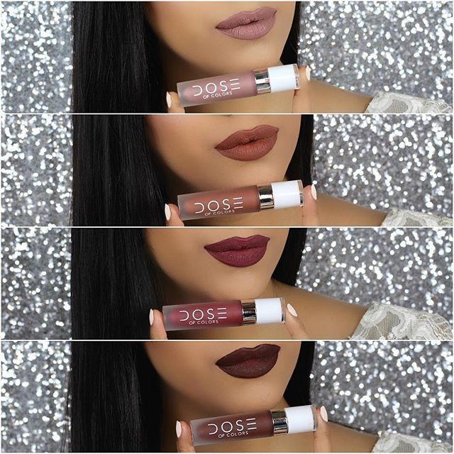 New Dose Of Colors Liquid Lipsticks 1.Desert Suede 2.Cork 3.Mood 4.Chocolate Wasted