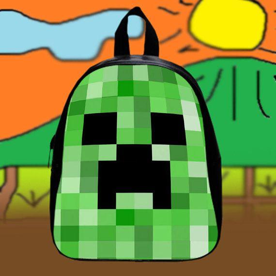Minecraft Creeper Cute  Custom SchoolBags Backpack by KopiHitam55