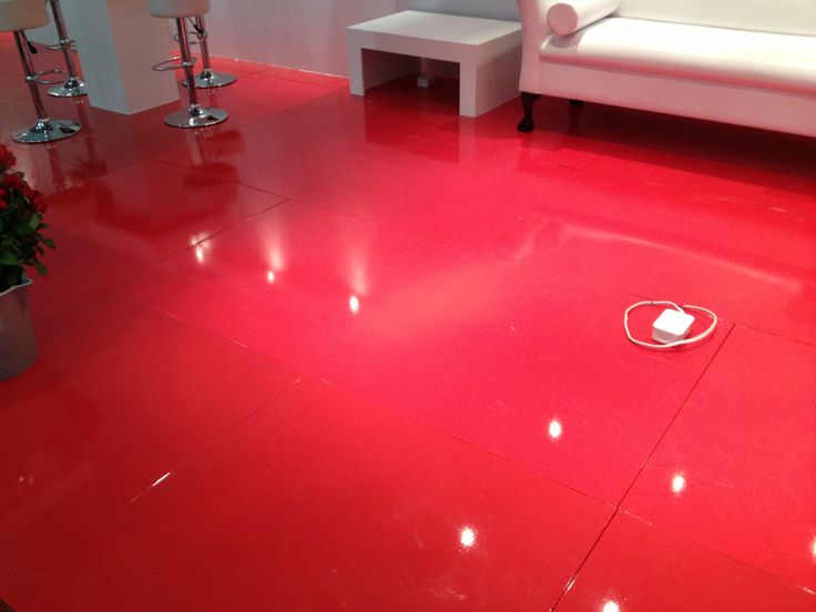 bright red gloss floor at expo