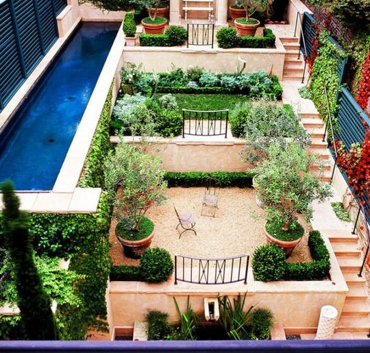 Roof garden with a lap pool.
